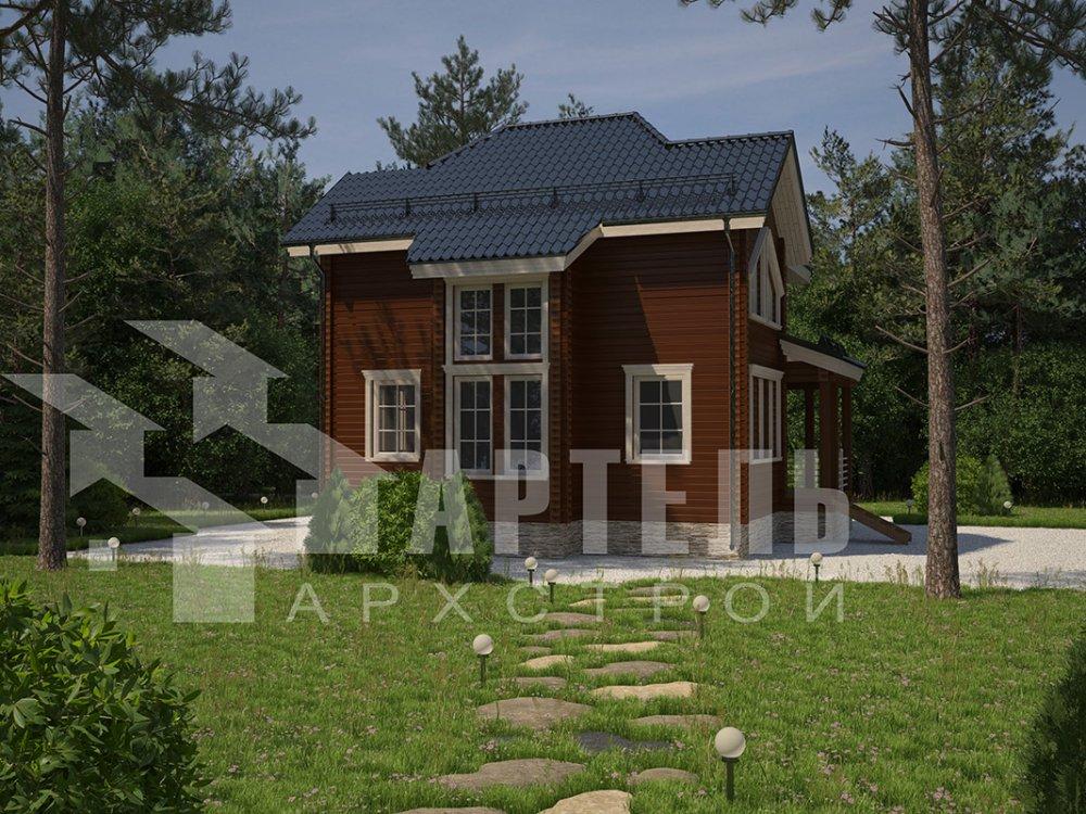 двухэтажный дом из профилированного бруса площадью от 100 до 150 кв. м. с  мансардой, террасой, эркером, проект Вариант 9.3 А фотография 4293