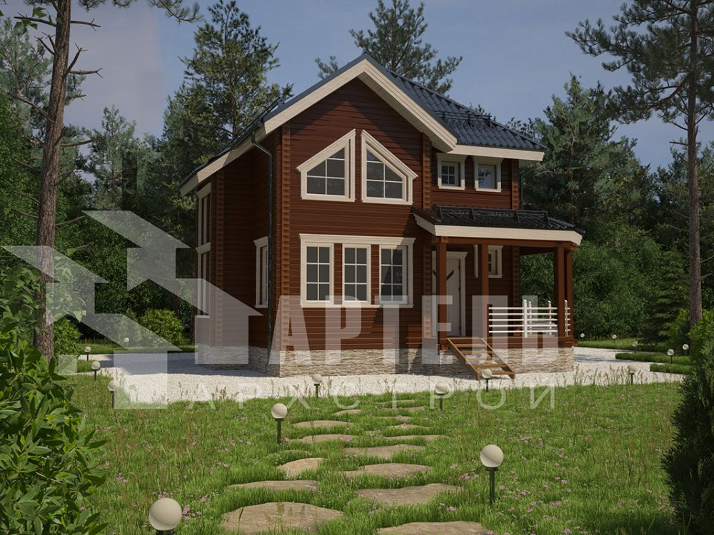 двухэтажный дом из профилированного бруса площадью от 100 до 150 кв. м. с  мансардой, террасой, эркером, проект Вариант 9.3 А фотография 4294