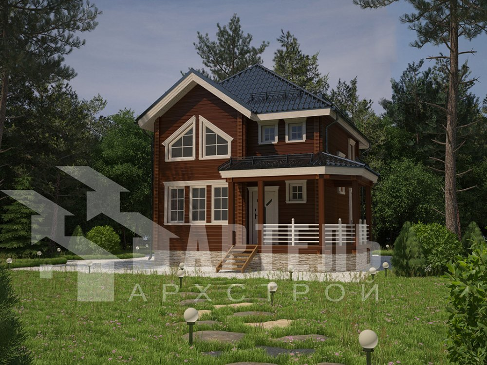 двухэтажный дом из профилированного бруса площадью от 100 до 150 кв. м. с  мансардой, террасой, эркером, проект Вариант 9.3 А фотография 4295