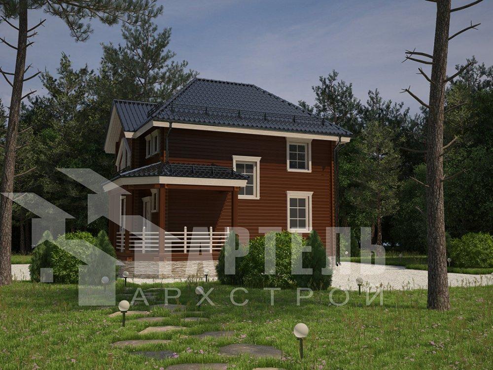 двухэтажный дом из профилированного бруса площадью от 100 до 150 кв. м. с  мансардой, террасой, эркером, проект Вариант 9.3 А фотография 4296
