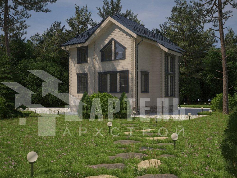 двухэтажный дом из профилированного бруса площадью от 100 до 150 кв. м. с  мансардой, террасой, эркером, проект Вариант 9.3 А фотография 4298