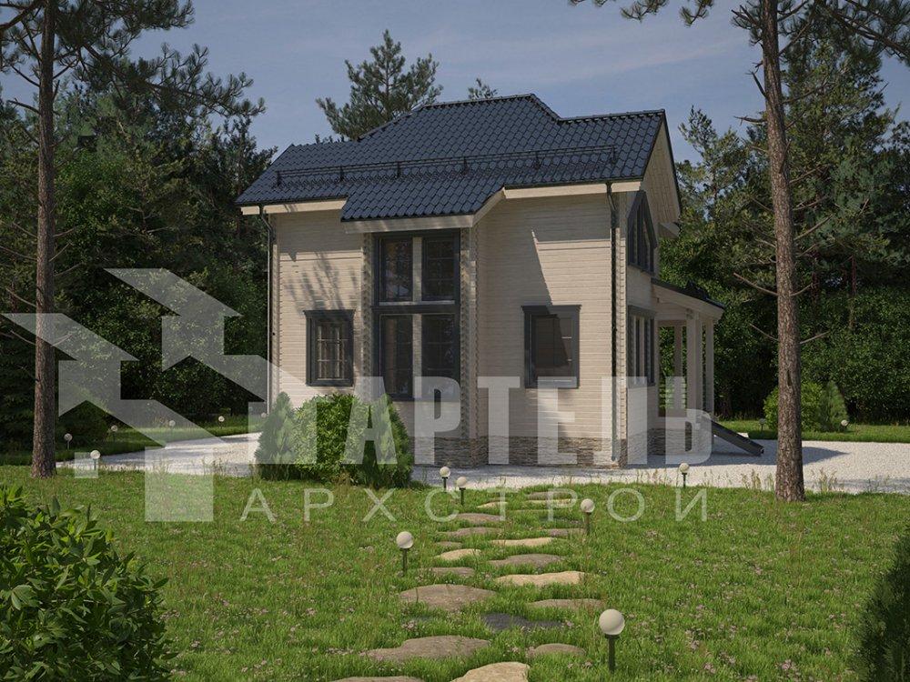 двухэтажный дом из профилированного бруса площадью от 100 до 150 кв. м. с  мансардой, террасой, эркером, проект Вариант 9.3 А фотография 4299
