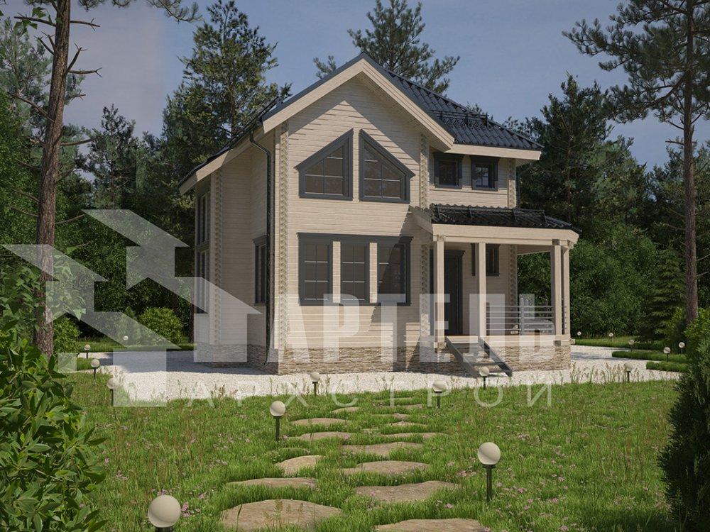 двухэтажный дом из профилированного бруса площадью от 100 до 150 кв. м. с  мансардой, террасой, эркером, проект Вариант 9.3 А фотография 4300