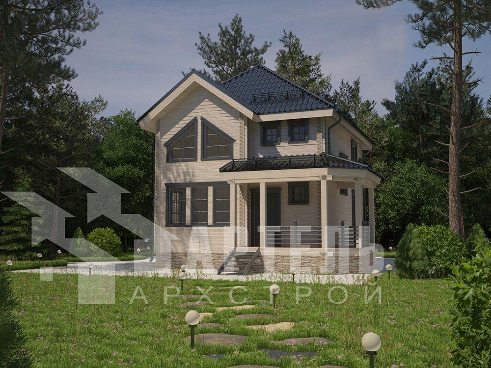 двухэтажный дом из профилированного бруса площадью от 100 до 150 кв. м. с  мансардой, террасой, эркером, проект Вариант 9.3 А фотография 4301