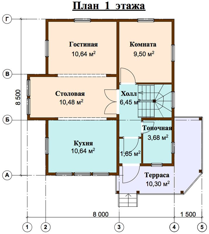 двухэтажный дом из профилированного бруса площадью от 100 до 150 кв. м. с  мансардой, террасой, эркером, проект Вариант 9.3 А фотография 4477