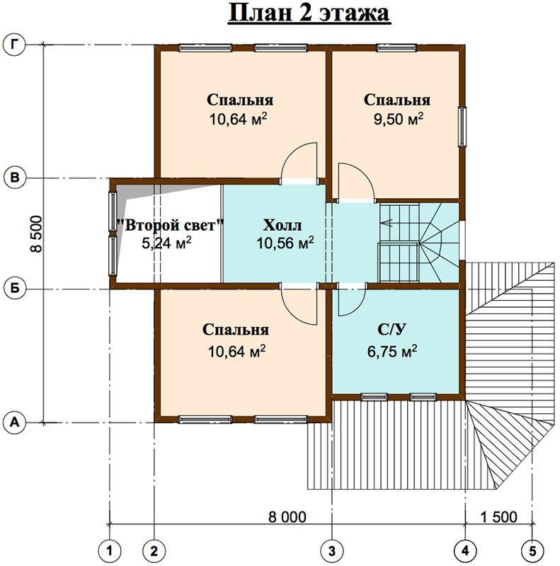 двухэтажный дом из профилированного бруса площадью от 100 до 150 кв. м. с  мансардой, террасой, эркером, проект Вариант 9.3 А фотография 4478