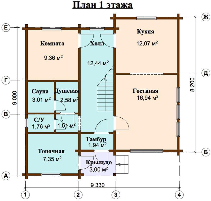 двухэтажный дом из профилированного бруса площадью от 100 до 150 кв. м. с  балконом, мансардой, проект Вариант 9.3 К фотография 4483