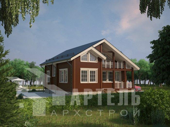 двухэтажный дом из профилированного бруса площадью от 100 до 150 кв. м. с  балконом, проект Вариант 9.5 К фотография 4736