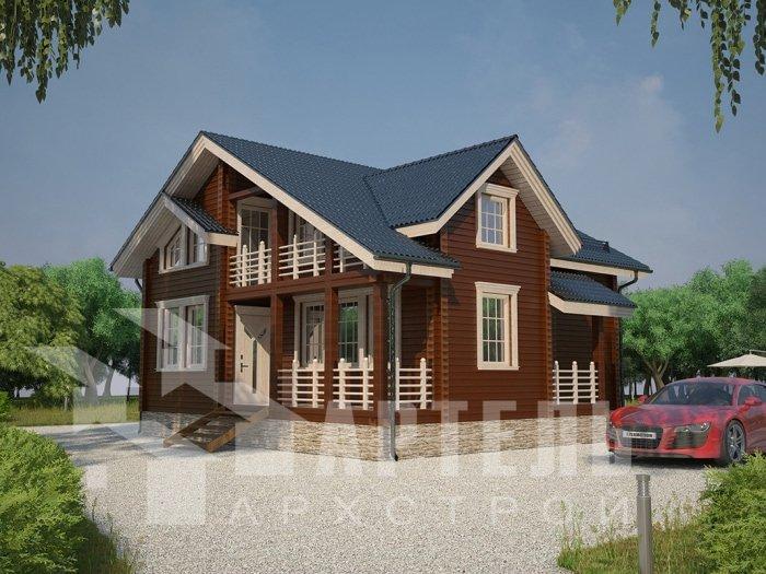 двухэтажный дом из профилированного бруса площадью от 100 до 150 кв. м. с  балконом, проект Вариант 9.5 К фотография 4738