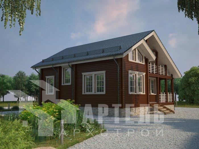 двухэтажный дом из профилированного бруса площадью от 100 до 150 кв. м. с  балконом, проект Вариант 9.5 К фотография 4741
