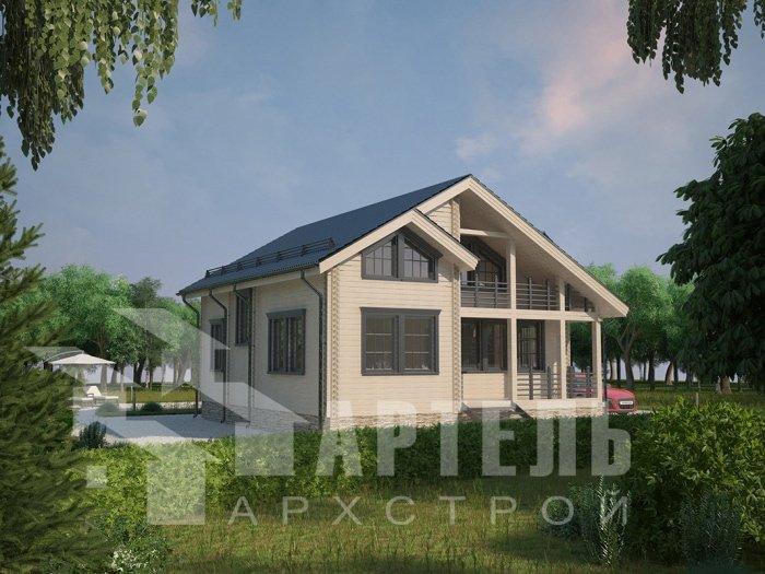 двухэтажный дом из профилированного бруса площадью от 100 до 150 кв. м. с  балконом, проект Вариант 9.5 К фотография 4730