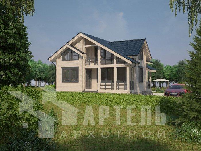 двухэтажный дом из профилированного бруса площадью от 100 до 150 кв. м. с  балконом, проект Вариант 9.5 К фотография 4731