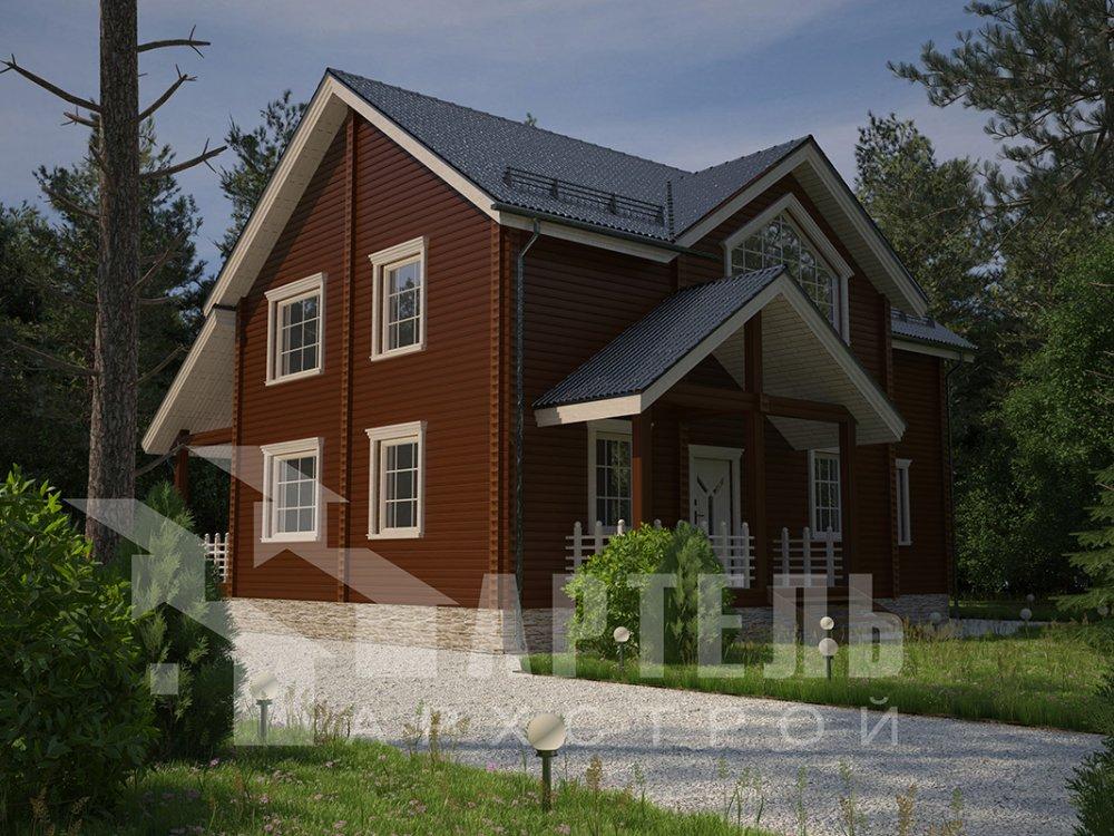 двухэтажный дом из профилированного бруса площадью от 150 до 200 кв. м. с  мансардой, террасой, проект Вариант 9.5 Т фотография 4571