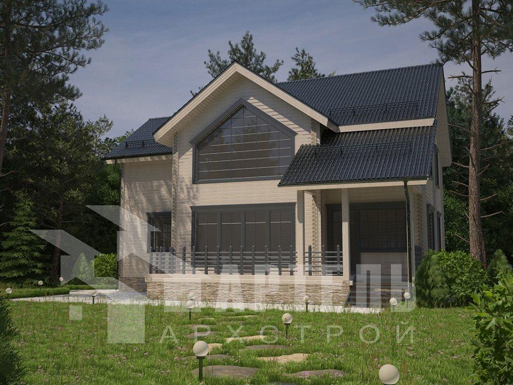 двухэтажный дом из профилированного бруса площадью от 150 до 200 кв. м. с  мансардой, террасой, проект Вариант 9.5 Т фотография 4582
