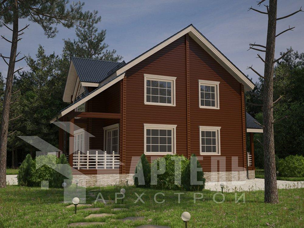 двухэтажный дом из профилированного бруса площадью от 150 до 200 кв. м. с  мансардой, террасой, проект Вариант 9.5 Т фотография 4576