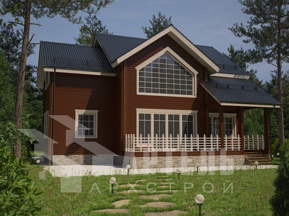 двухэтажный дом из профилированного бруса площадью от 150 до 200 кв. м. с  мансардой, террасой, проект Вариант 9.5 Т фотография 4574