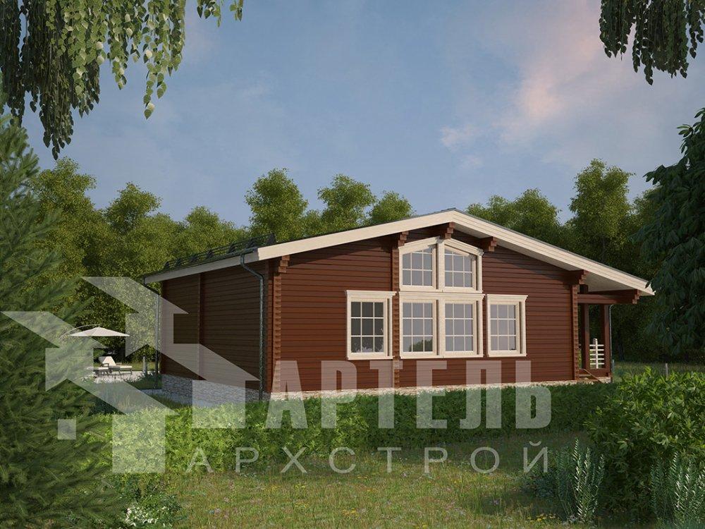 одноэтажный дом из профилированного бруса площадью от 100 до 150 кв. м. с  террасой, проект Вариант 9.8 К фотография 4053