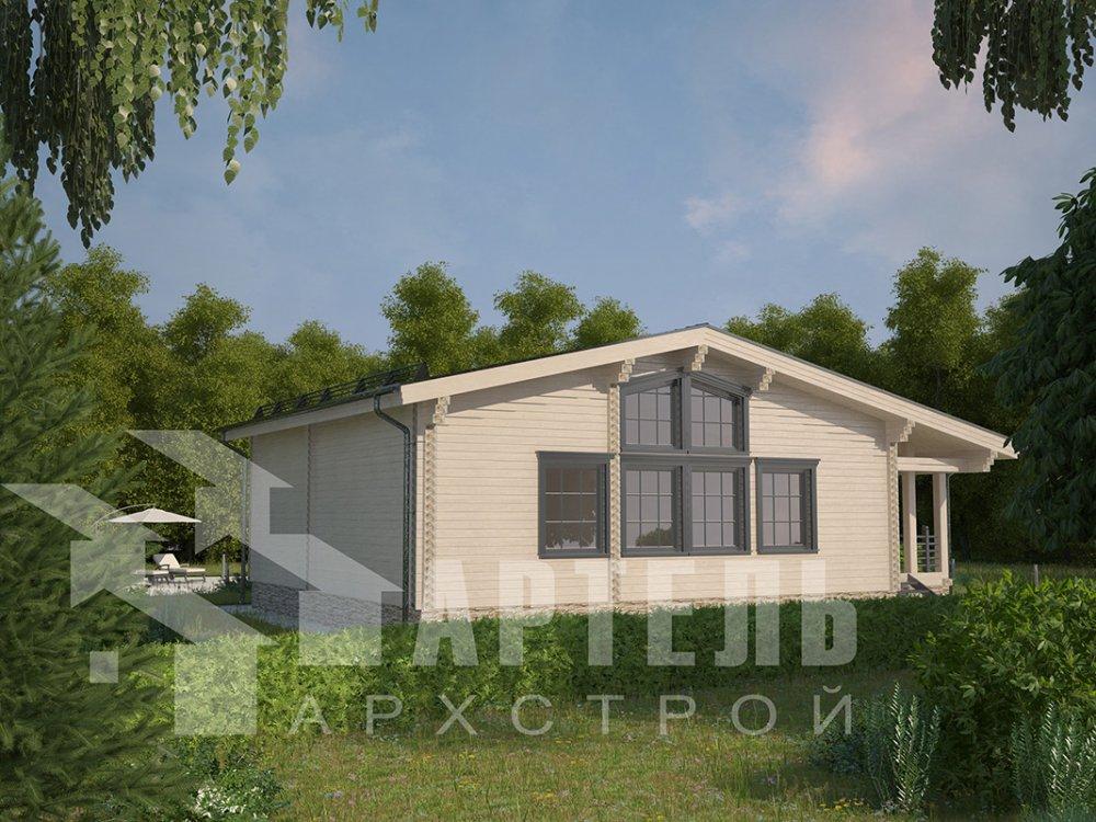 одноэтажный дом из профилированного бруса площадью от 100 до 150 кв. м. с  террасой, проект Вариант 9.8 К фотография 4060