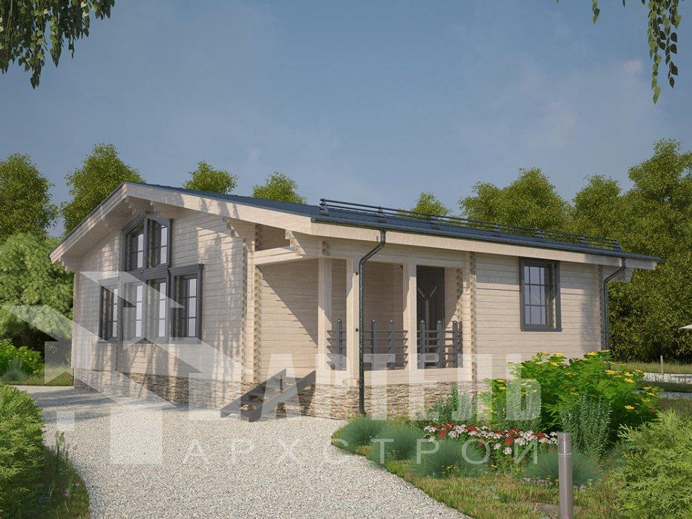 одноэтажный дом из профилированного бруса площадью от 100 до 150 кв. м. с  террасой, проект Вариант 9.8 К фотография 4058