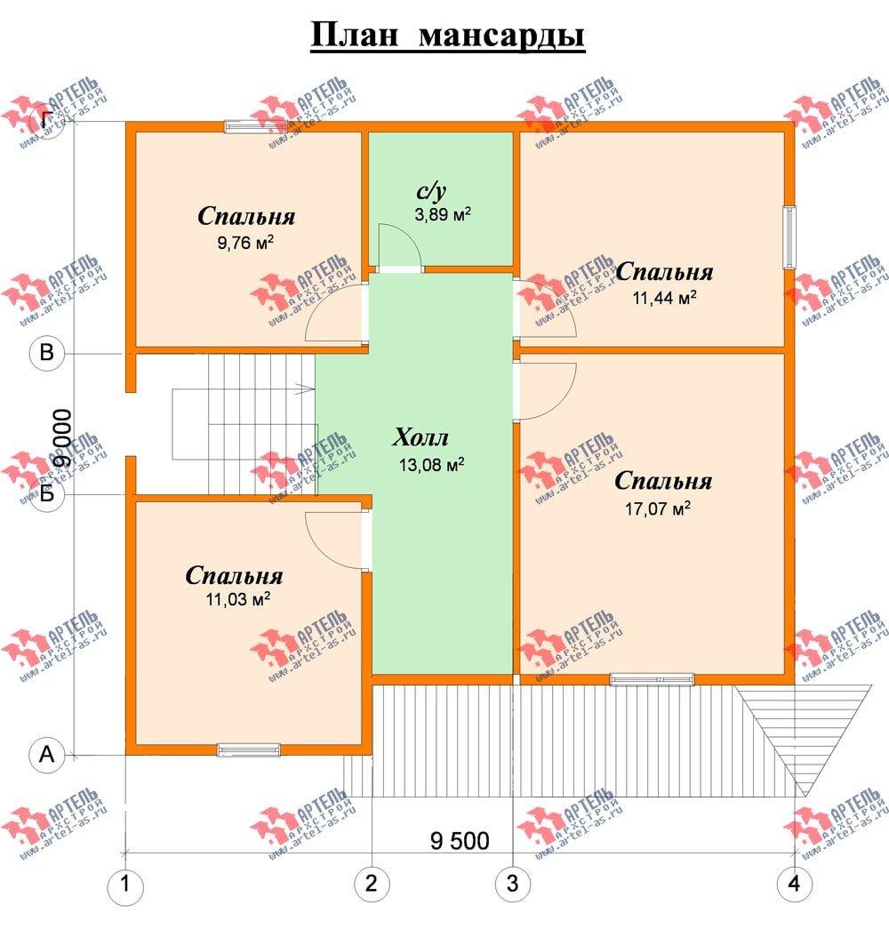 двухэтажный дом из бруса площадью от 100 до 150 кв. м. с  мансардой, эркером, проект Вариант 9 Г фотография 2206