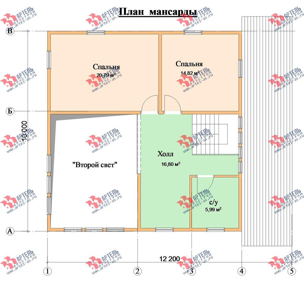 двухэтажный дом из бруса площадью от 150 до 200 кв. м. с  мансардой, проект Вариант 12.2 А фотография 2217