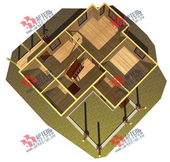 двухэтажный дом из бруса площадью от 150 до 200 кв. м. с  мансардой, террасой, проект Вариант 13 В фотография 2225