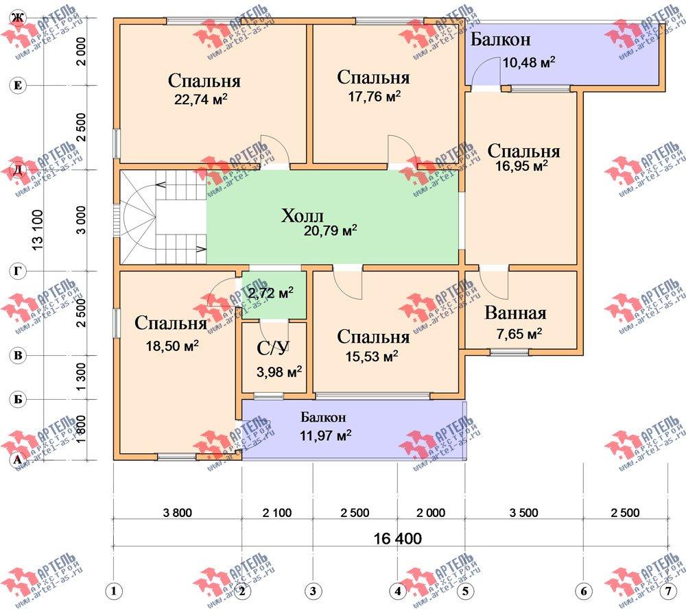 двухэтажный дом из бруса площадью свыше 200 кв. м. с  балконом, мансардой, террасой, проект Вариант 18 А фотография 2422