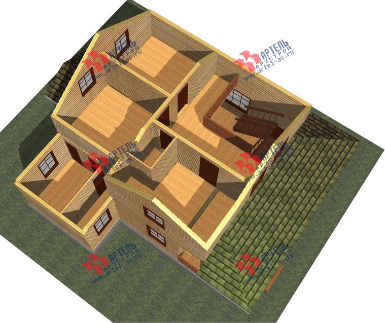 двухэтажный дом из профилированного бруса площадью от 100 до 150 кв. м. с  мансардой, террасой, проект Вариант 8.8 Б фотография 2451