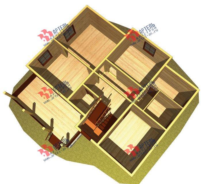 двухэтажный дом из бруса площадью от 150 до 200 кв. м. с  балконом, террасой, эркером, проект Вариант 12.4 А фотография 2677