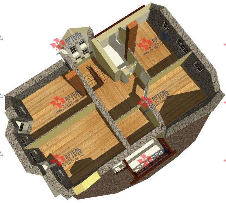 двухэтажный дом из камня площадью свыше 200 кв. м. с  балконом, эркером, проект Вариант 23 фотография 2718