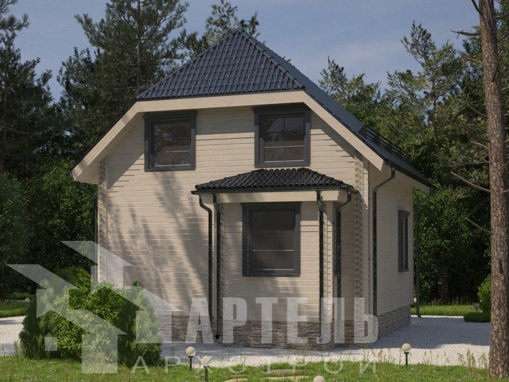 двухэтажный дом из камня площадью от 150 до 200 кв. м. с  балконом, эркером, проект Вариант 25 фотография 2768