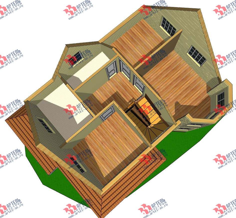 двухэтажный дом из профилированного бруса камерной сушки площадью от 100 до 150 кв. м. с  мансардой, эркером, проект Вариант 7 фотография 2799