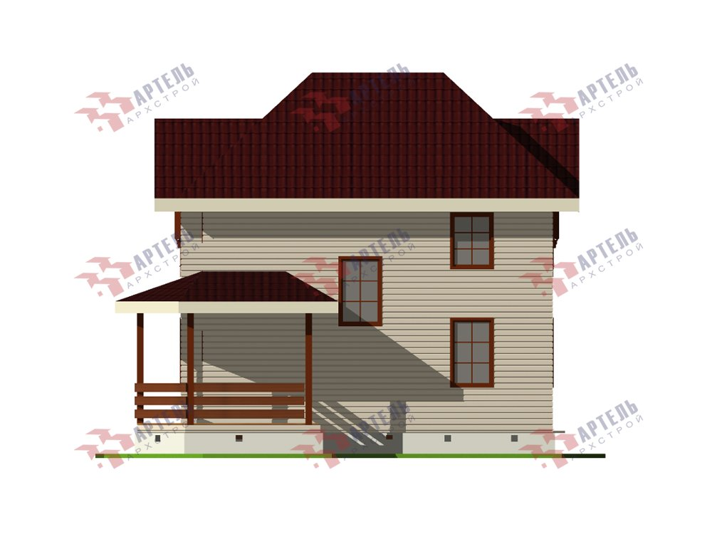двухэтажный дом из профилированного бруса площадью от 100 до 150 кв. м. с  мансардой, террасой, эркером, проект Вариант 9.3 А фотография 5920
