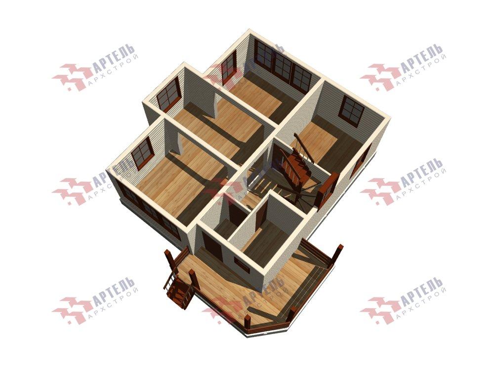 двухэтажный дом из профилированного бруса площадью от 100 до 150 кв. м. с  мансардой, террасой, эркером, проект Вариант 9.3 А фотография 5925