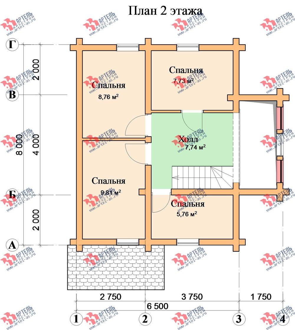 двухэтажный дом из оцилиндрованного бревна площадью от 100 до 150 кв. м. с  эркером, проект Вариант 1 фотография 3031