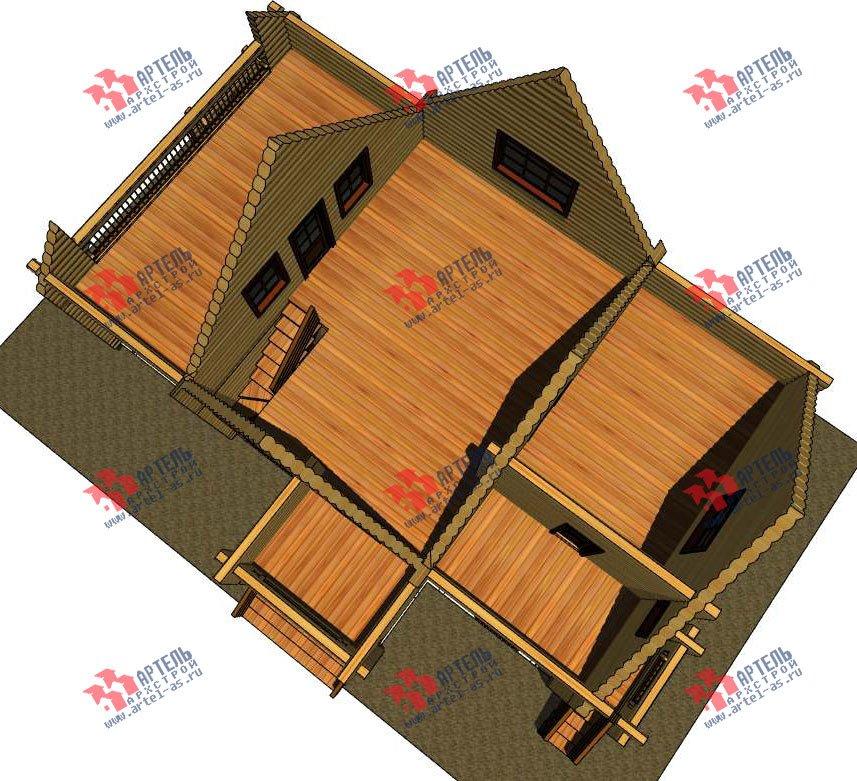 двухэтажный дом из оцилиндрованного бревна площадью свыше 200 кв. м. с  балконом, террасой, проект Вариант 3 фотография 3046