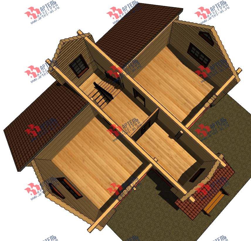 двухэтажный дом из оцилиндрованного бревна площадью от 100 до 150 кв. м. с  террасой, проект Вариант 6 фотография 3092