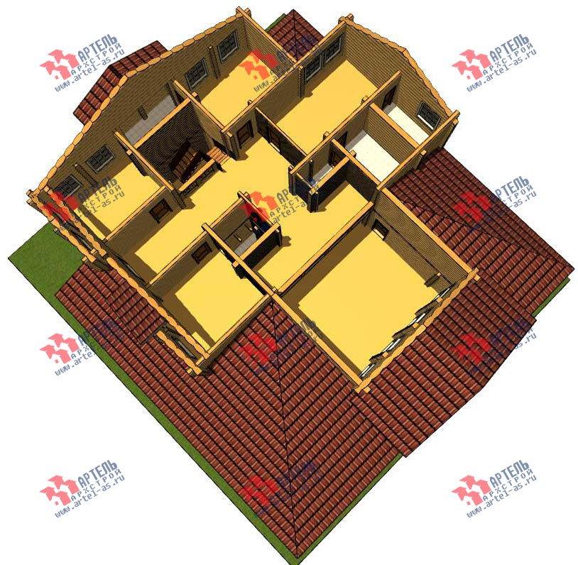 двухэтажный дом из оцилиндрованного бревна площадью свыше 200 кв. м. с  террасой, проект Вариант 8 фотография 3115