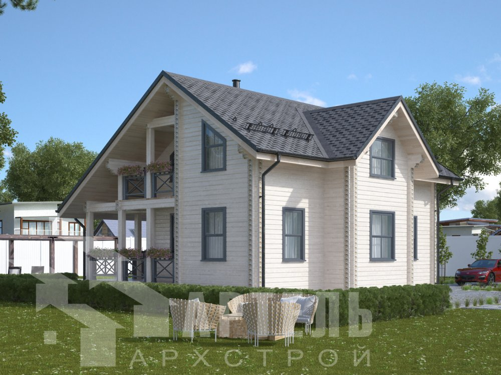 двухэтажный дом из камня площадью от 100 до 150 кв. м. с  эркером, проект Вариант 9 фотография 535