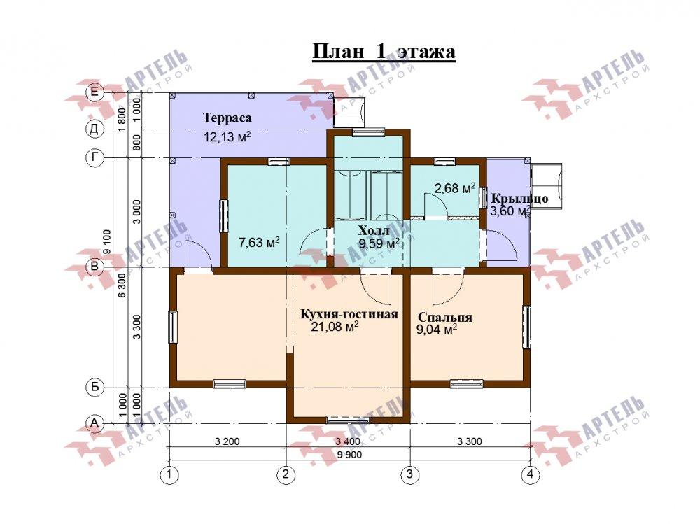 двухэтажный дом омбинированные дома площадью от 100 до 150 кв. м., проект Вариант 9,9К комбинированный фотография 5681