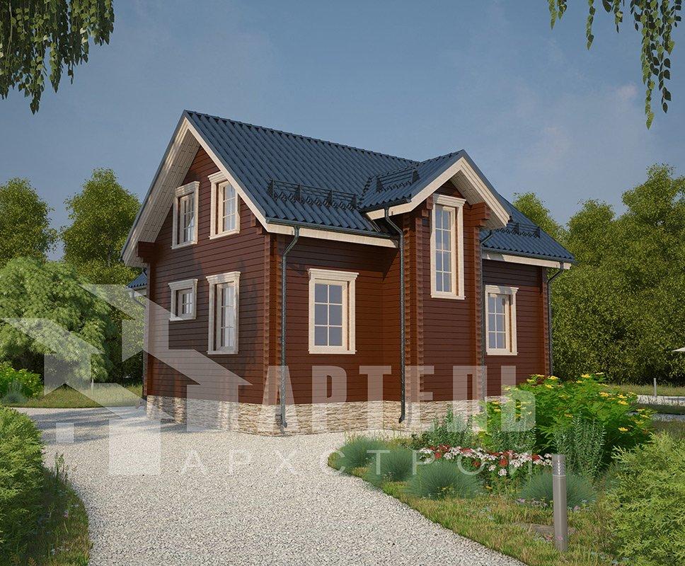 двухэтажный дом из профилированного бруса площадью от 100 до 150 кв. м. с  мансардой, эркером, проект Вариант 9 А фотография 4316
