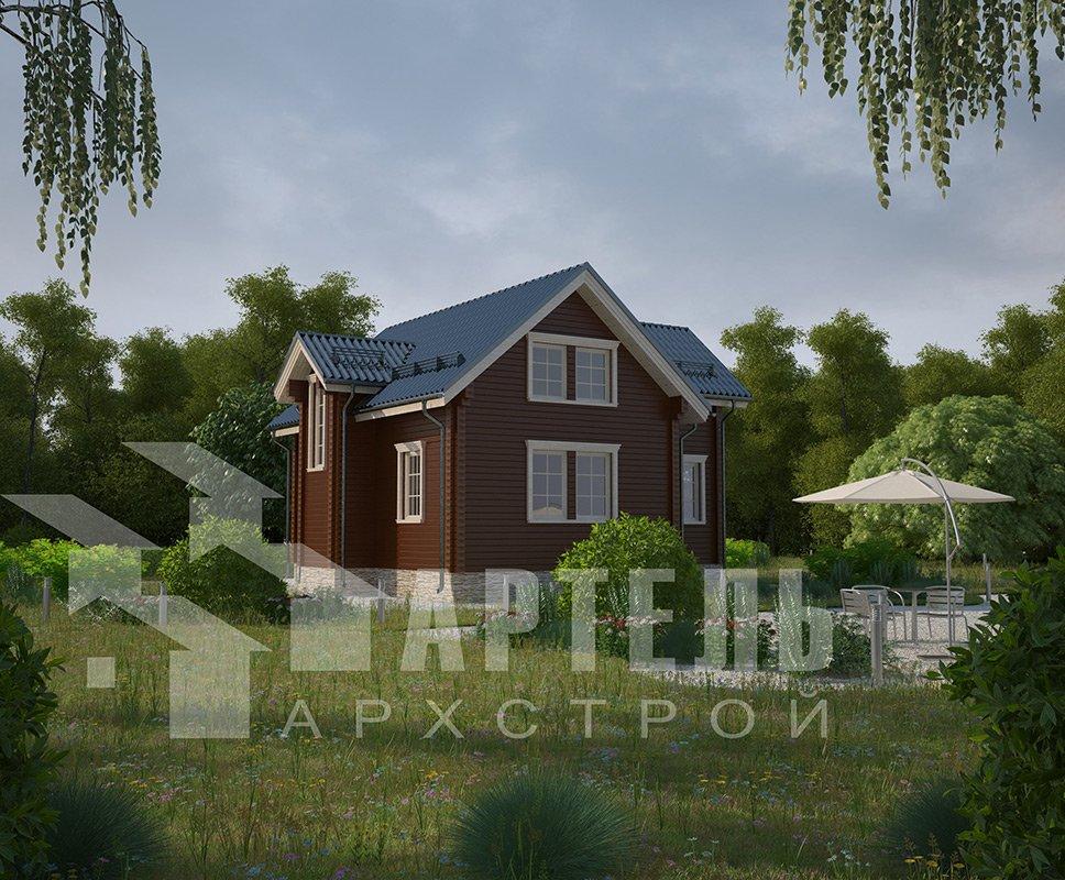 двухэтажный дом из профилированного бруса площадью от 100 до 150 кв. м. с  мансардой, эркером, проект Вариант 9 А фотография 4317