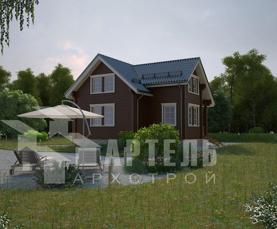 двухэтажный дом из профилированного бруса площадью от 100 до 150 кв. м. с  мансардой, эркером, проект Вариант 9 А фотография 4318