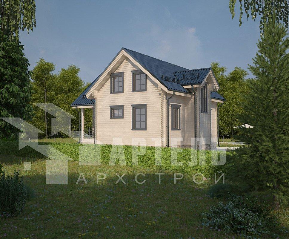 двухэтажный дом из профилированного бруса площадью от 100 до 150 кв. м. с  мансардой, эркером, проект Вариант 9 А фотография 4321