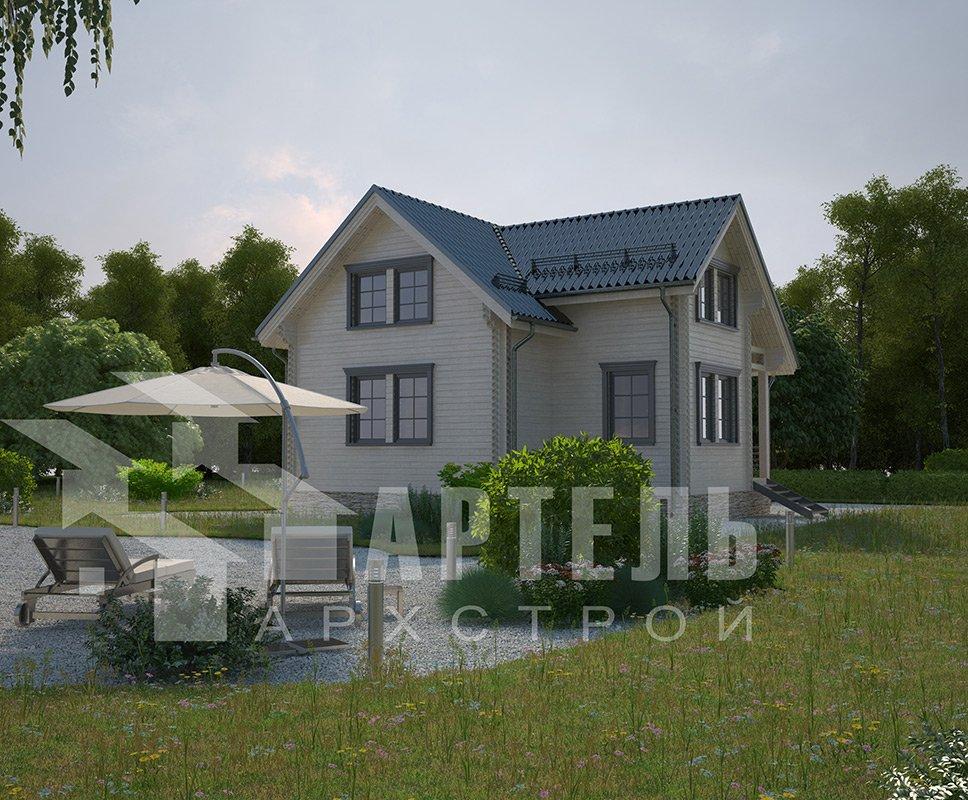 двухэтажный дом из профилированного бруса площадью от 100 до 150 кв. м. с  мансардой, эркером, проект Вариант 9 А фотография 4324