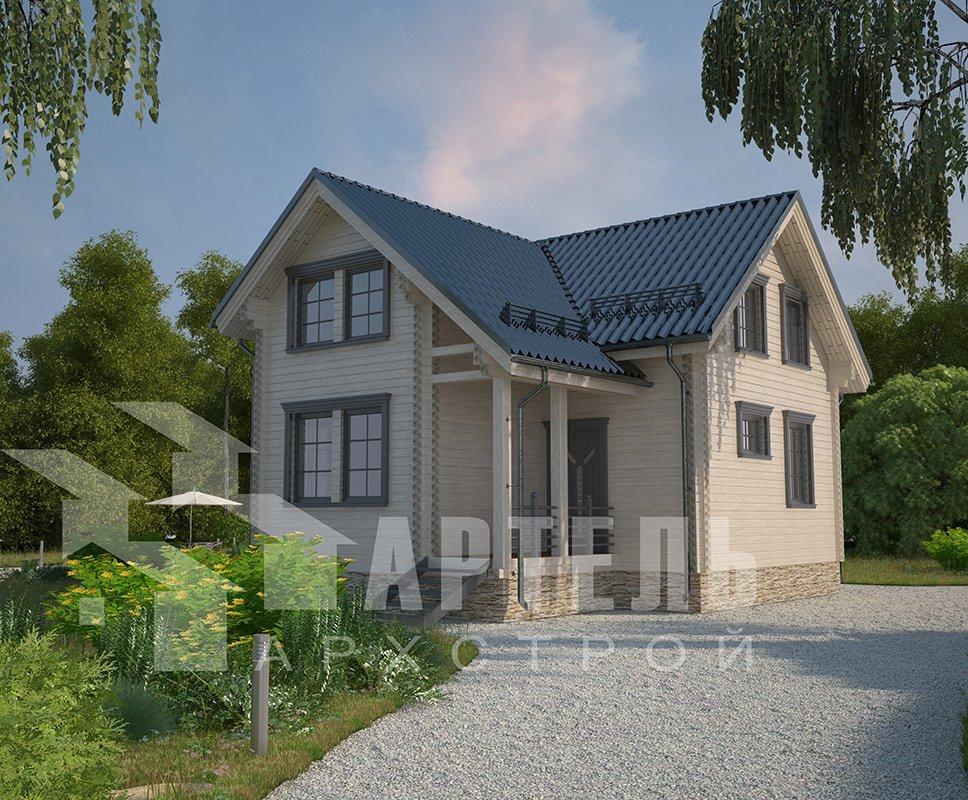 двухэтажный дом из профилированного бруса площадью от 100 до 150 кв. м. с  мансардой, эркером, проект Вариант 9 А фотография 4325