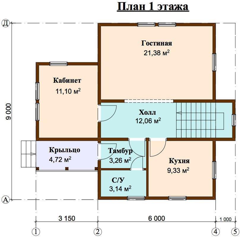двухэтажный дом из профилированного бруса площадью от 100 до 150 кв. м. с  мансардой, эркером, проект Вариант 9 А фотография 4488