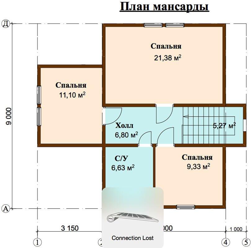 двухэтажный дом из профилированного бруса площадью от 100 до 150 кв. м. с  мансардой, эркером, проект Вариант 9 А фотография 4489