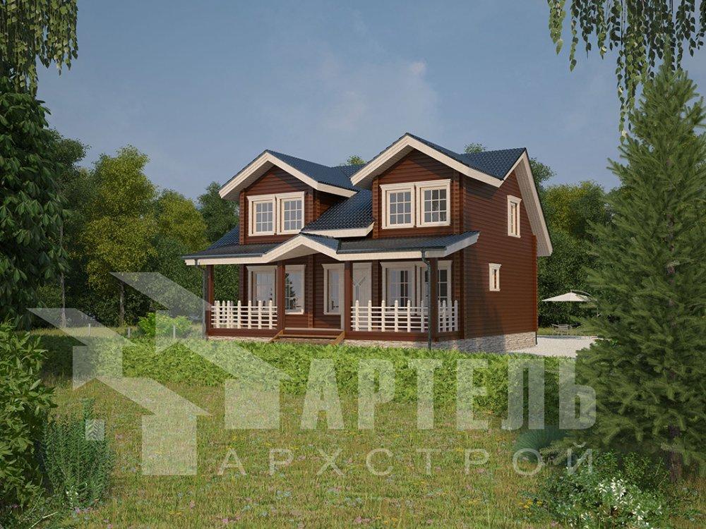 двухэтажный дом из профилированного бруса площадью от 150 до 200 кв. м., проект Вариант 9 О фотография 4503