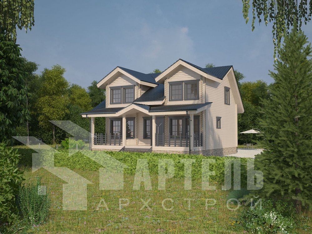 двухэтажный дом из профилированного бруса площадью от 150 до 200 кв. м., проект Вариант 9 О фотография 4497